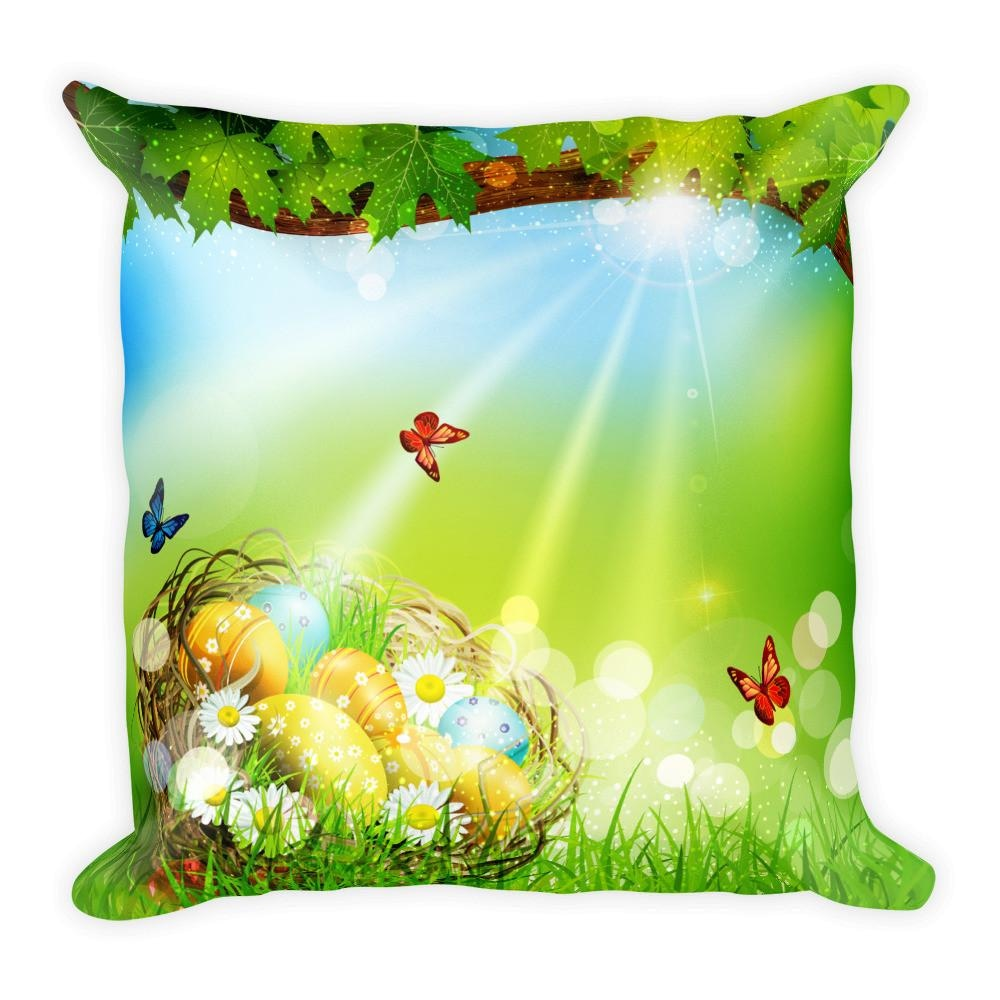 Spring Easter Egg 18 x 18 Square Throw Pillow Cushion w/ Insert - Pillow - Nurdtyme