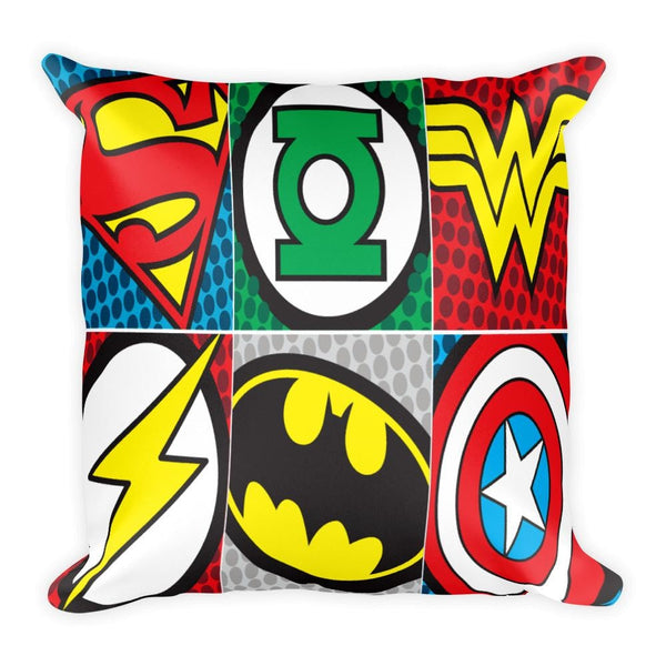 Superhero Decorative 18 x 18 Square Throw Pillow Cushion - Pillow - Nurdtyme