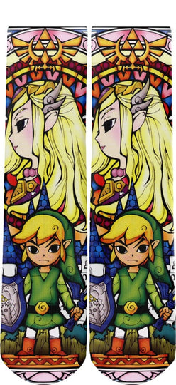 Zelda and Link Stained Glass Novelty Socks