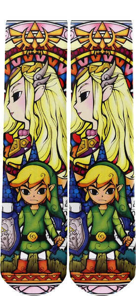 Zelda and Link Stained Glass Novelty Socks - socks - Nurdtyme