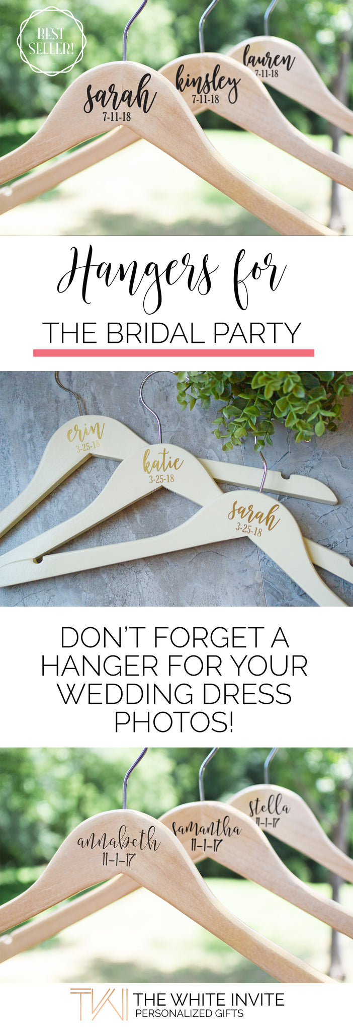 Wedding Hangers for Bridal Party, Bridesmaid Wedding Hangers, Wedding Dress Hanger
