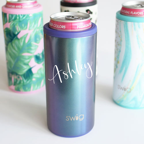 SWIG skinny can cooler personalized