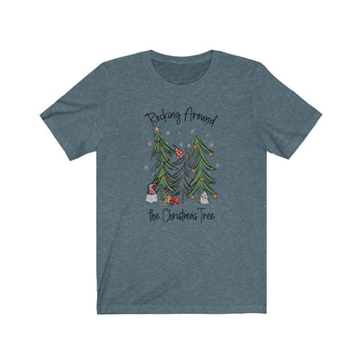 Rocking Around the Christmas Tree Women's Graphic Tee in heather slate shirt