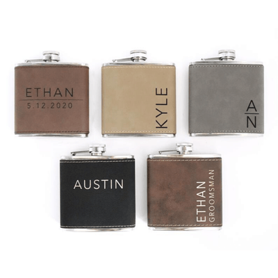 Engraved Flask Groomsmen Flask Gift Set side