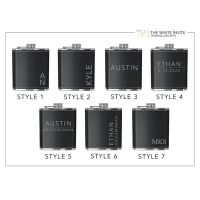 Style options of Engraved Flask Groomsmen Flask Gift Set