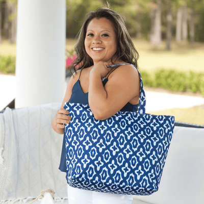 Natural Mosaic Tote Bag in Navy Blue