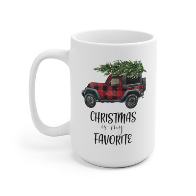 back view of Christmas is my Favorite Truck White Ceramic Mug