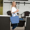 Lady holding Natural Mosaic Tote Bag in Navy Blue