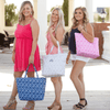 Ladies holding Natural Mosaic Tote Bag in Gray Navy Blue and Hot pink