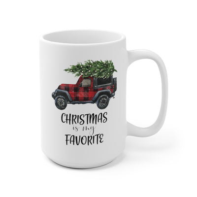 front view of Christmas is my Favorite Truck White Ceramic Mug