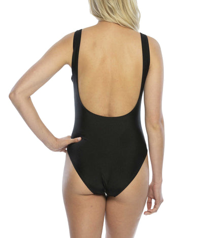Bride Tribe One Piece Swimsuit in Black Back View perfect for bridesmaid gifts bachelorette party bridal shower