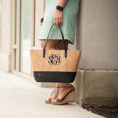Monogrammed Charlotte Beach Bag in black