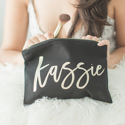 Bridesmaid Makeup Bag in Black for bridesmaid gifts bachelorette party gifts