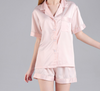 Bridal Party Satin Pajama Set in blush pink perfect for bachelorette party