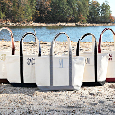 Medium Canvas Monogrammed Boat Tote Bag w Zipper, Tote Bag, The White Invite, The White Invite - The White Invite