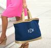 Embroidered Tote Bag with Gold Trim in Navy Blue
