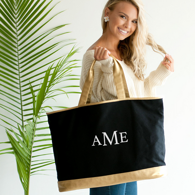Embroidered Tote Bag with Gold Trim in Black