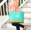 Embroidered Tote Bag with Gold Trim in Mint