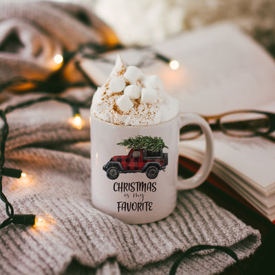 christmas mug with Christmas is my Favorite Truck White Ceramic Mug design