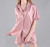 Bridal Party Satin Pajama Set in dusty rose perfect for bachelorette party