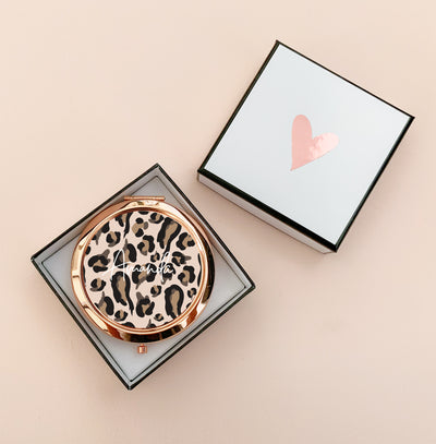 Personalized Leopard Compact Mirrors with Box