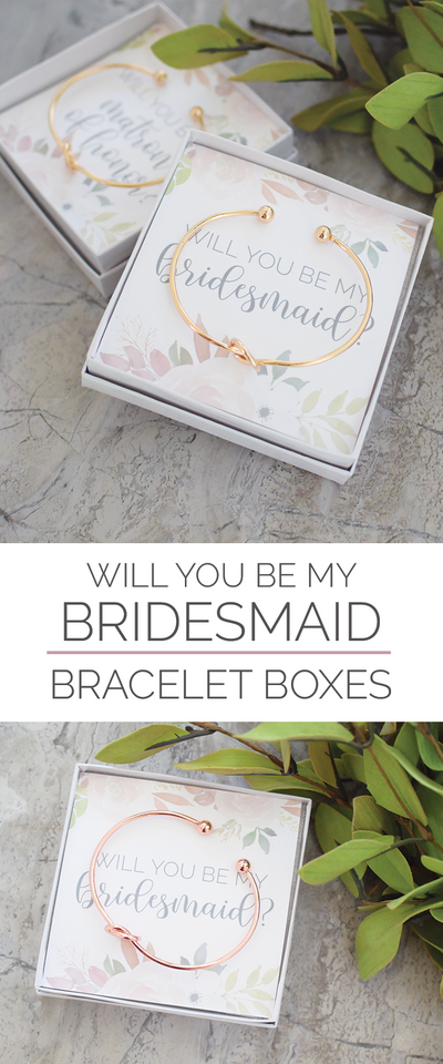 Will You Be My Bridesmaid Gift Bracelet - Bridesmaid Proposal Box - Bridesmaid Gift - Will You Be My Bridesmaid Card Floral Design, Bracelet, thewhiteinvite, The White Invite - The White Invite