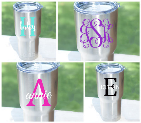 Personalized decal monogram for 20oz or 30oz yeti rambler rtic tumbler cup yeti decal