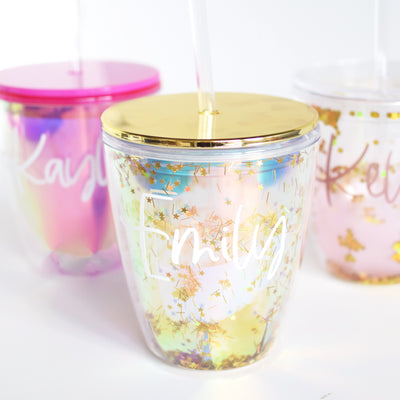 custom glitter tumbler personalized glitter tumblers with gold, pink iridescent and rose gold