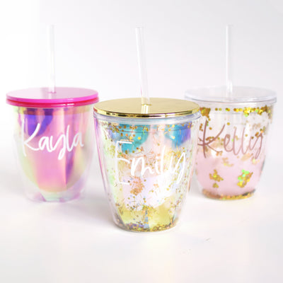 personalized glitter tumblers with gold, pink iridescent and rose gold