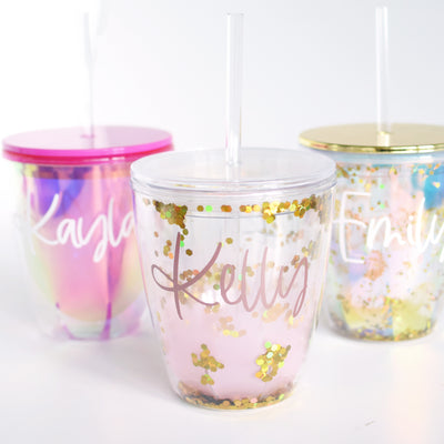 personalized glitter tumblers with gold, pink ombre option