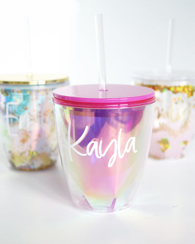 personalized glitter tumblers pink iridescent option