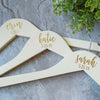 Personalized Bridesmaid Wooden Hangers in Gold text