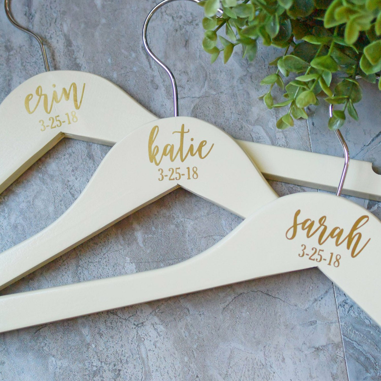 Personalized Bridesmaid Hangers Gold Wooden Wedding Hangers Bride Hanger Wedding Dress Hanger Gold And Ivory