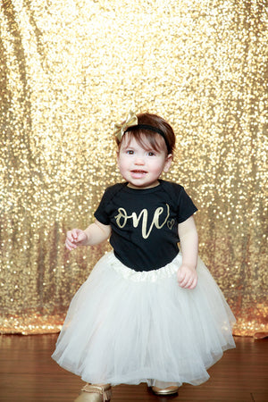 LIVE SALE 1st Birthday Girl Outfit, Gold First Birthday Outfit, Birthday Tutu, Ivory Black Tutu Outfit, Cake Smash Outfit, Tutu, thewhiteinvite, The White Invite - The White Invite