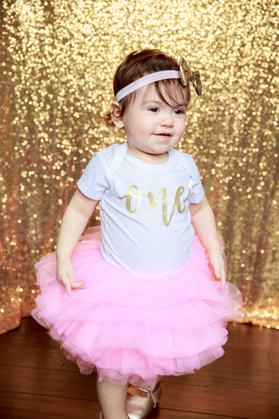 LIVE SALE First Birthday Outfit Girl, Pink Gold Tutu Girl First Birthday Outfit, Birthday Shirt, Pink Birthday Tutu, Cake Smash Outfit Dress, Tutu, thewhiteinvite, The White Invite - The White Invite