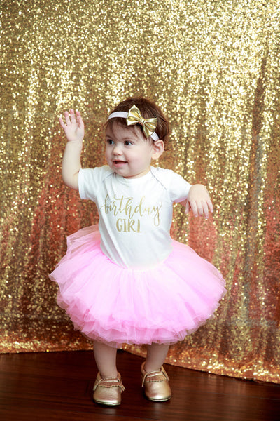 LIVE SALE Birthday Girl Outfit, First Birthday Girl Outfit Pink Gold, Birthday Shirt, Pink Birthday Tutu, Cake Smash Outfit, Tutu, thewhiteinvite, The White Invite - The White Invite