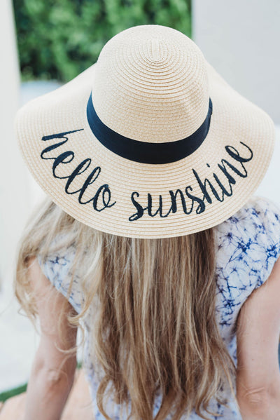 Hello Sunshine Embroidered Beach Floppy Hat perfect for bridesmaid gift top