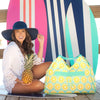 Lemon Monogrammed Beach Bag Personalized Embroidered Beach Tote Bag