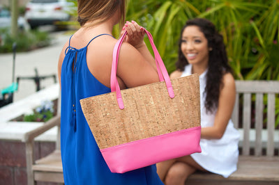 Monogrammed Charlotte Beach Bag in pink