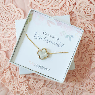 Will You Be My Bridesmaid Gift Necklace - Bridesmaid Proposal Box, Tumbler, thewhiteinvite, The White Invite - The White Invite