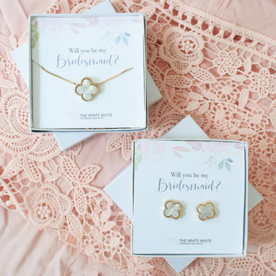 Will You Be My Bridesmaid Gift Earring Set perfect for Bridesmaid Proposal Box front