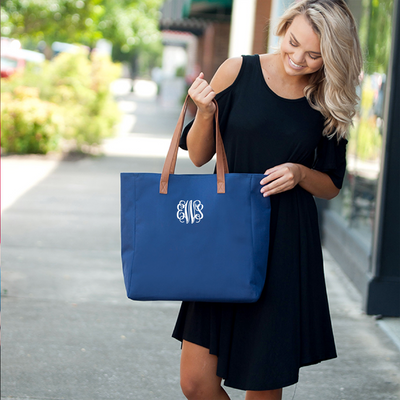 Embroidered Personalized Tote Bag in royal blue