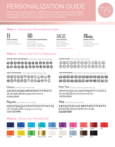 personalization guide of Monogrammed Charlotte Beach Bag