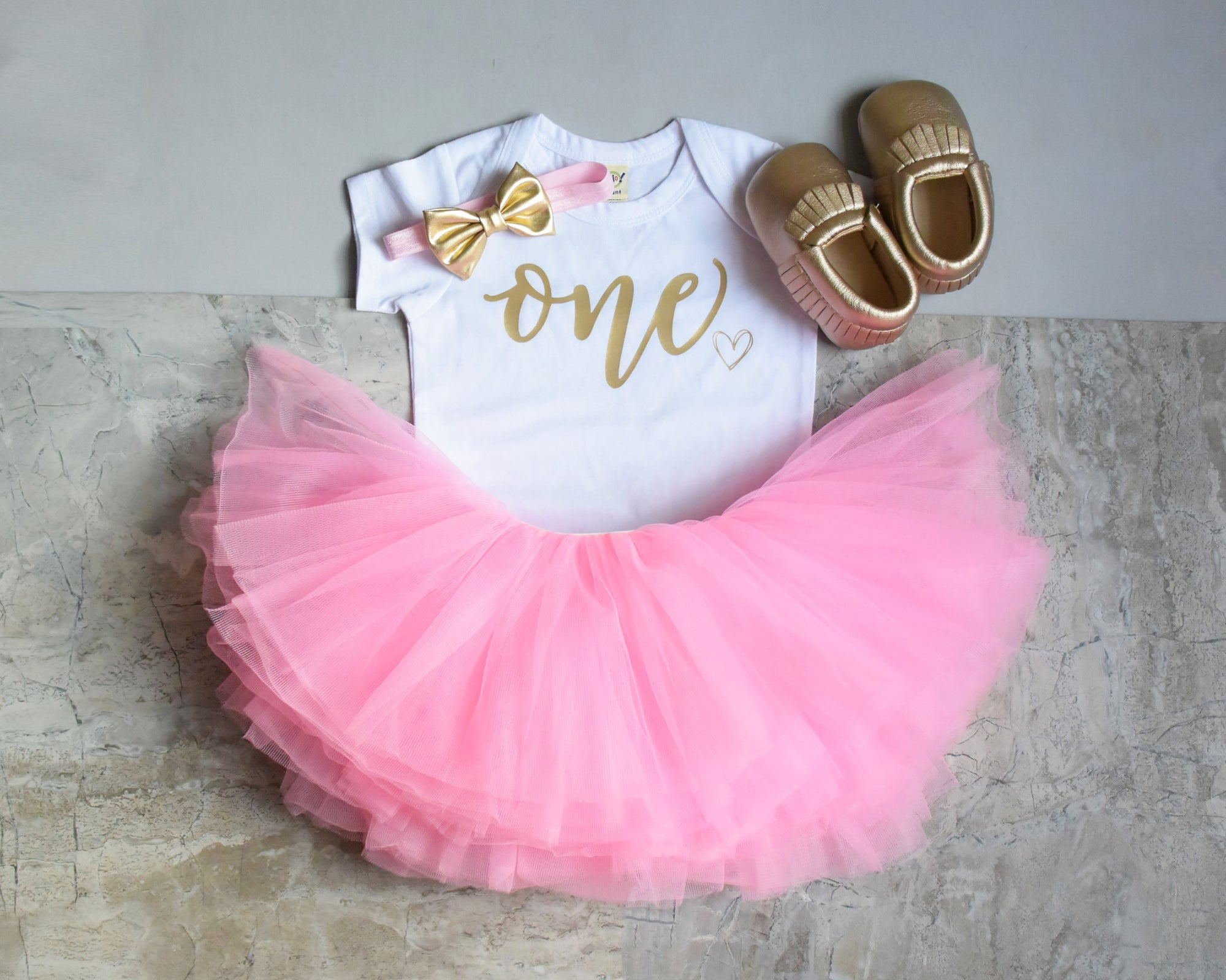 4255979e LIVE SALE First Birthday Outfit Girl, Pink Gold Tutu Girl First Birthday  Outfit, Birthday