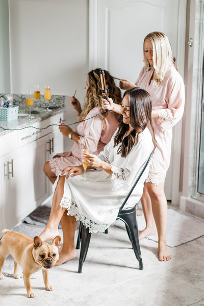 Lace Bridesmaid and Bridal Robes perfect for bachelorette party makeup