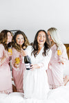 Ladies wearing Plus Size Lace Bridesmaid and Bridal Robes