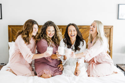 Ladies wearing Plus Size Lace Bridesmaid and Bridal Robes for bachelorette