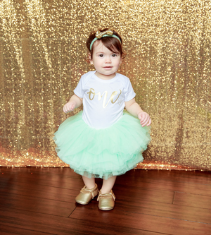 LIVE SALE First Birthday Outfit Girl, Mint Gold Tutu Girl First Birthday Outfit, Birthday Shirt, Mint Birthday Tutu, Cake Smash Outfit Dress, Tutu, thewhiteinvite, The White Invite - The White Invite