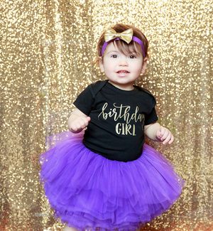 "LIVE SALE First Birthday Girl Outfit, ""Birthday Girl"" Shirt Purple Tutu Gold Bow, Cake Smash Outfit, Tutu, thewhiteinvite, The White Invite - The White Invite"
