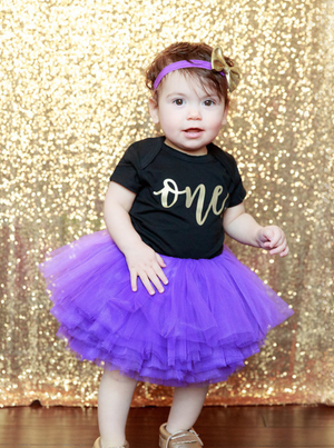 LIVE SALE First Birthday Outfit Girl, Purple Gold Tutu Girl First Birthday Outfit, Birthday Shirt, Purple Birthday Tutu, Cake Smash Outfit Black One Onesie, Tutu, thewhiteinvite, The White Invite - The White Invite